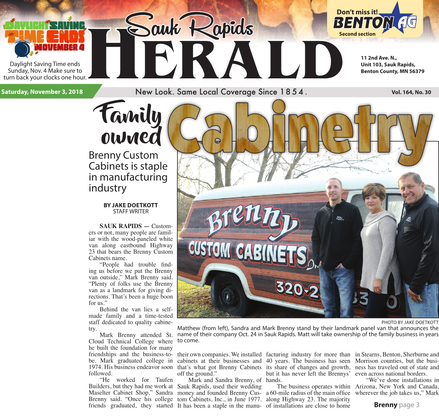 Sauk Rapids Herald Features Brenny Custom Cabinets